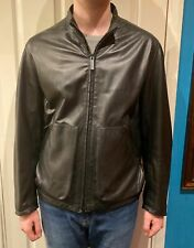 Leather BURBERRY collarless zipped Jacket 36-38 chest.