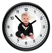 Custom Photo Clock Personalised Logo Wall Art Gift Bedroom Kids Birthday Present
