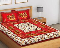 Multi Print Cotton Double Bed Sheet & Duvet Cover With 4 Pillow Covers Red  sk