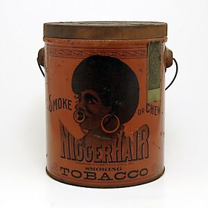 Pre-Bigger Hair Tin 1920's Advertising Tobacco Metal Can by B. Leidersdorf Co.