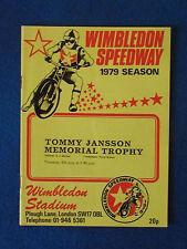 Speedway Programme - Tommy Jansson Memorial Trophy - 5/7/79 - Wimbledon Speedway