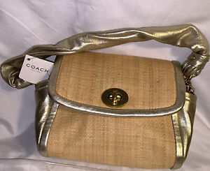 Coach Bag Parker 42475 Straw And Leather Small Handbag Purse Gold NWT Authentic