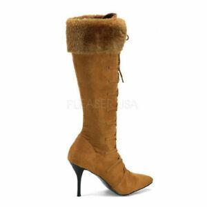Pleaser USA Mountain-120 Tan Microfiber Women's Boot New Size 7