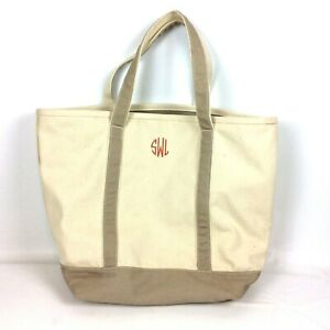 Lands End Extra Large Canvas Zip Top Tote Bag Tan Beige Monogrammed Beach Travel