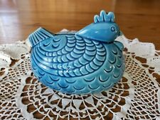 """Adorable Vintage Chicken Hen Rooster Pottery Money Bank 6""""w×5""""t"""