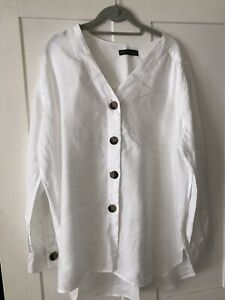 Ladies M & S Collection White Linen Top - Size 18