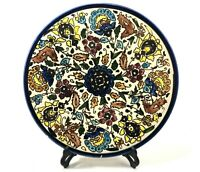 Vintage Armenian Ceramic Plate Old Israel Hanging Hand Painted decorated Flowers