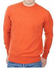 Balldiri 100% Cashmere señores suéter de cuello redondo Orange L