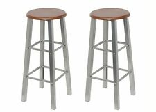 Vintage Bar Stool MDF Wood and Metal 2 Kitchen Seat 70cm Height Brown