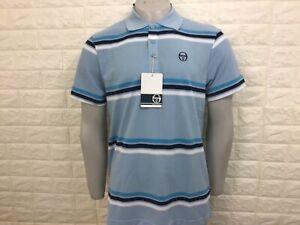Sergio tacchini men's fig polo shirt S + M pale blue stripe bnwt