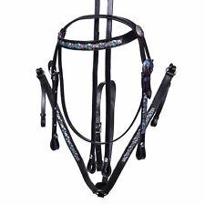 Western Show BLACK Leather Bridle & Breastplate Set Blue Aqua Crystal Cob Full