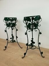 Couple French Antique Wrought Iron Plant Stand / Holders Rose Decor E/0045
