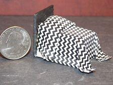 Dollhouse Miniature Bed Black Chevron 1:48 Quarter scale 1/4 D29 Dollys Gallery
