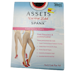 Spanx Assets Red Hot Label Super Control Sheers Pantyhose Hosiery Black Sz 3