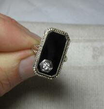 Victorian Edwardian Ring OMC Diamond Onyx 14K White Gold Filigree Belle c1890