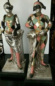 "Vintage 1958 Pair Male & Female Harlequin 36"" Table Lamps Quartite Creations"