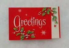 """Vintage Christmas Card - """"Greetings"""" - Holly, Berries, Snowflakes - Wenvelope"""
