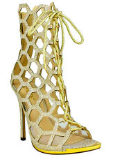 Celeste Gold Honeycomb Lace up Open toe Sandal High Heel Women's Shoes US sz.9