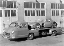 "1955 Mercedes Benz Silver Arrow Car Transporter 14 x 11"" Photo Print"