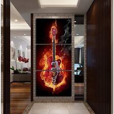 Modern Abstract Oil Painting Wall Decor Art Poster -  Burning Guitar Music 3pcs
