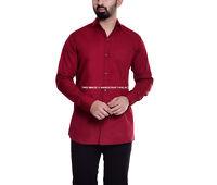 Men's Plain Cotton Shirt Regular Collar Maroon Plain Formal Casual Long Sleeve