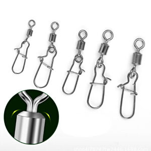50Pc Fishing Hook Lure Lock Snap Connector Swivels Ring Stainless Steel Pin Clip
