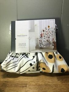 Threshold Multicolor Floral Shower Curtain. New Open Box