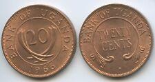 G4951 - Uganda Ten (20) Cents 1966 KM#3 XF-UNC Elefanten-Stoßzähne