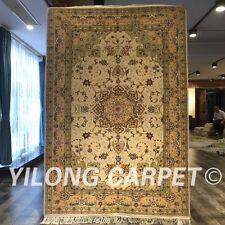 Yilong 4'x6' Fine Handmade Wool Silk Rug Tabriz Hand knotted Woollen Carpet 2098