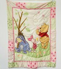 Vintage Winnie the Pooh Baby Comforter Blanket Piglet Eeyore Flowers Butterflies