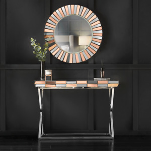Rosegold Round Wall Mirror Mirrored Console Glass Living Room Furniture