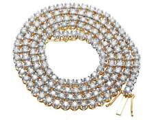 """10K Yellow Gold Prong 1 Row Real Diamond Men's Tennis Chain Necklace 19.5ct 26"""""""