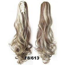 "22"" Claw Pony tail Ponytail Clip In On Hair Extension Wavy Curly Style 28 Colors"