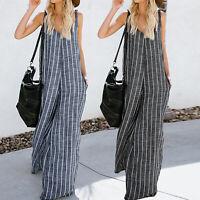 Women Stripes Linen Wide Leg Bib Pants Jumpsuit Playsuit Loose Overalls Trousers