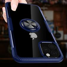 iPhone 11 Case Carbon Fiber Rotation Ring Kickstand Magnetic Clear Crystal Blue