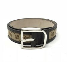 Nuevo Gucci Gg de Cuero de Lona para Hombre Marrón Beige Cintura Correa ajusta 32