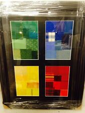More details for framed and glased material textiles abstract art piece board wrapped