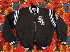 Vtg CHICAGO WHITE SOX BLACK Starter Satin Jacket L mlb throwback men SWAG