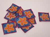 Set of 10 Homemade Christmas Card Embroidered Purple Flower Motifs Patch #20D102