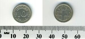 Iceland 1929 - 10 Aurar Copper-Nickel Coin - Crowned Arms - King Christian X