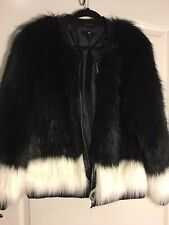 Fox Faux Fur Bomber Jacket | Black & Ivory | Size 12 | Collector's Alert
