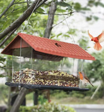 Funpeny Hanging Wild Bird Feeder, Red Roof House Bird Feeders and Garden for and