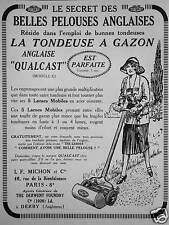 PUBLICITÉ TONDEUSE A GAZON ANGLAISE QUALCAST SECRET DE BELLES PELOUSES ANGLAISES