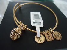 Authentic Alex And Ani Cupcake Bangle Russian Gold New W/ Tag Card & Box
