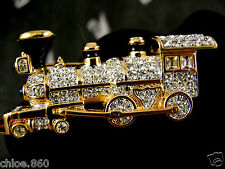 SIGNED SWAROVSKI PAVE' CRYSTAL LOCOMOTIVE TRAIN  PIN ~ BROOCH RETIRED NEW