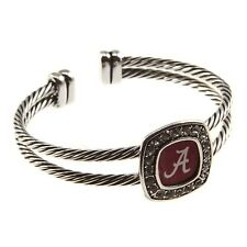 Alabama Crimson Tide  rhinestone square logo  silver braided  bracelet