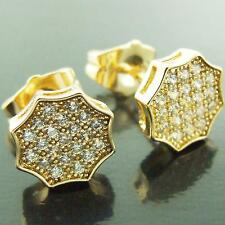 STUD EARRINGS REAL 18K YELLOW G/F GOLD LADIES GENUINE DIAMOND SIMULATED PAVE SET