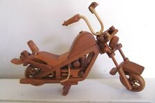 HAND CRAFTED WOOD WOODEN HARLEY STYLE CHOPPER MOTORCYCLE - WHEELS/STEERING MOVE