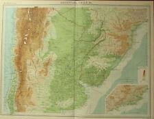 1922 Gran Antiguo Mapa ~ América del Sur ~ Argentina Chile Uruguay Rio De Janeiro