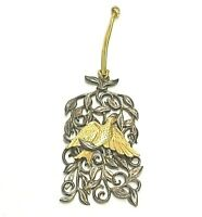 VINTAGE SILVER/GOLD TONE METAL DOVE W/VINES CHRISTMAS TREE ORNAMENT/PENDANT